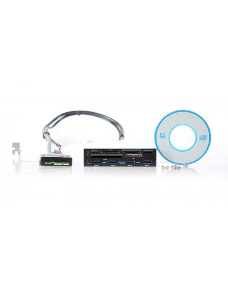 "3.5"" Internal PCI-E Multi-card reader with Powered 4-Port USB 3.0 Hub Combo"